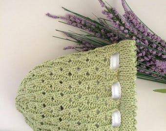 Lace Baby Bonnet - Green