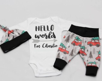 Christmas Newborn Coming Home Outfit, baby boy coming home outfit Red Truck, Christmas tree-Jersey knit Leggings, Knot Hat, and Bodysuit