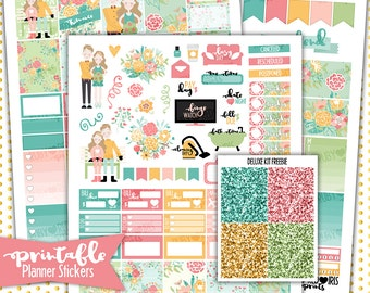 Romance Deluxe Weekly Kit | PRINTABLE Planner Stickers | Pdf, Jpg, and Png Format | ECLP Vertical Planner Stickers