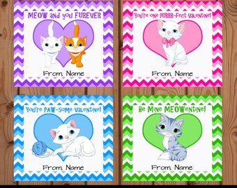 Cat Valentines Day Cards, Cat Valentines for Kids, Cat Valentines Day, Cat Valentine Card, Kitten Valentine Card, Kitty Valentine Card