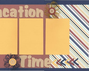 12x12 VACATION TIME scrapbook page kit, premade scrapbook kit, 12x12 premade page kit, premade scrapbook pages, 12x12 scrapbook layout