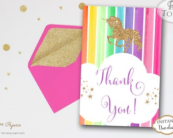 INSTANT DOWNLOAD - Glitter Unicorn Thank You Cards - Printable Rainbow Unicorn Thank you Note - Glitter Rainbow Unicorn Thank You card 0220