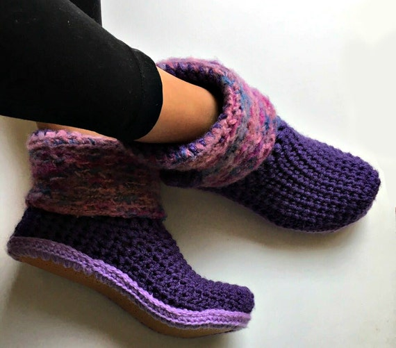 Purple Crochet Slipper Boots With Faux Leather Out Soles