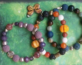 Customized Gemstone Essential Oil Diffuser Bracelet