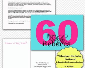 Milestone Birthday Postcard Memories and Birthday Wishes Printable Post Card Aqua Blue Pink Standard 4x6 jpeg files 1