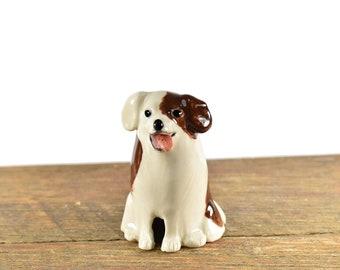 puppy dog pie bird ceramic one of a kind hand crafted by Anita Reay AnitaReayArt piebird ceramic calico dog figurine