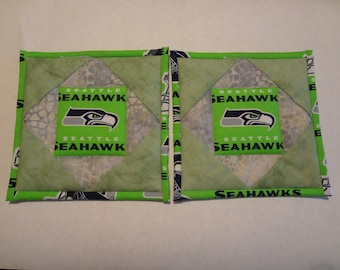 Seattle Seahawks quilted potholders-pair