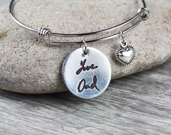 Custom Handwriting Bracelet - Handwriting Jewelry -Bracelet bangle - Signature Jewelry - Signature Bracelet - Personalized Engraving