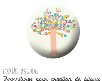 Cabochon 25 mm tree in blossom pink beige ref 729 fancy