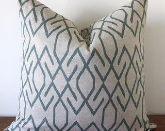 NEW- Decorator Pillow Cover-Seafoam Green and Tan - Zoe Pool