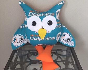 Miami Dolphins Handmade Stuffed Owl
