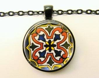 MEXICAN TALAVERA TILE Necklace -- Detail from hand-painted Mexican Tile, Latin American art, Gift for him or her, Friendship token
