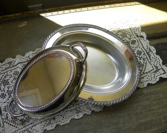 National Silver on Copper Lidded Serving Dish