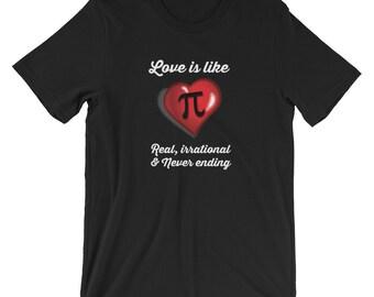 Love Is Like Pi Never Ending T-shirt Math Pi Tee