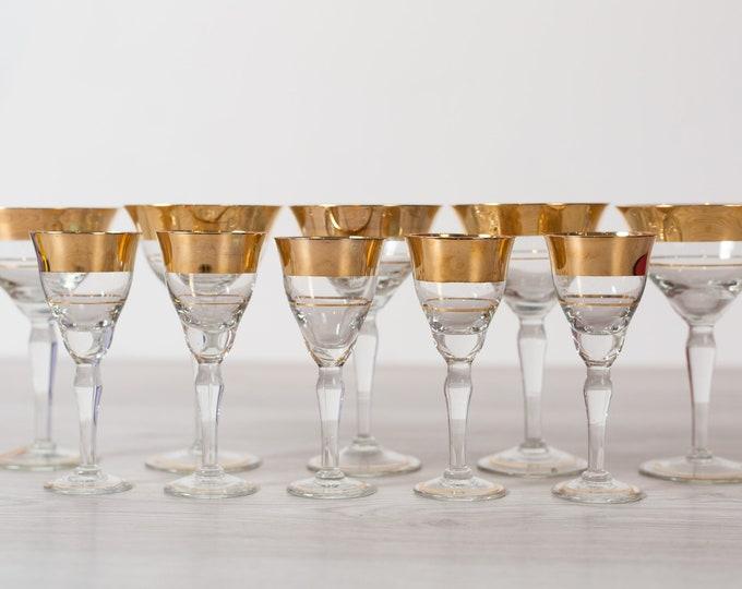 Champaign Flute Bar Glasses / 4-Piece Set of Gold and Black Detailed Vintage Cocktail Glasses / Gold Rimmed Hollywood Regency Barware