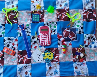 Activity Blanket' Fidget Quilt, Alzheimers Therapy, Dementia Support, Autism Therapy, Restless Therapy, Busy Fingers,Elderly Care,Quilts