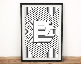 "Typography Print | Letter Print ""P"" 