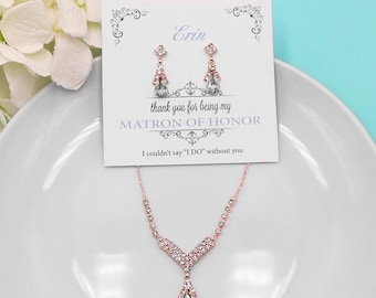 Rose Gold Bridesmaid Jewelry Set, Crystal Wedding Necklace Set, bridal jewelry set, wedding jewelry set, Macy Rose Gold Bridesmaids Set