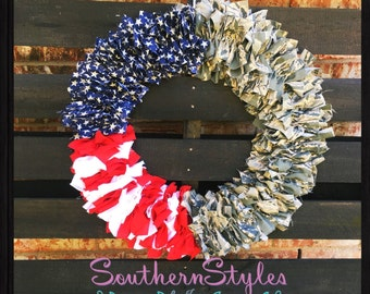 Airforce fabric wreath I support the troops I military wreath I Military Fabric I Military fabric wreath I Military fabric I Airforce Wreath