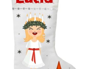 Santa Lucia Christmas Stocking - Personalized Swedish Santa Lucia Stocking