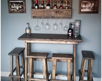 Bespoke lean to wall reclaimed timber rustic BREAKFAST BAR & STOOLS, any stain , any size