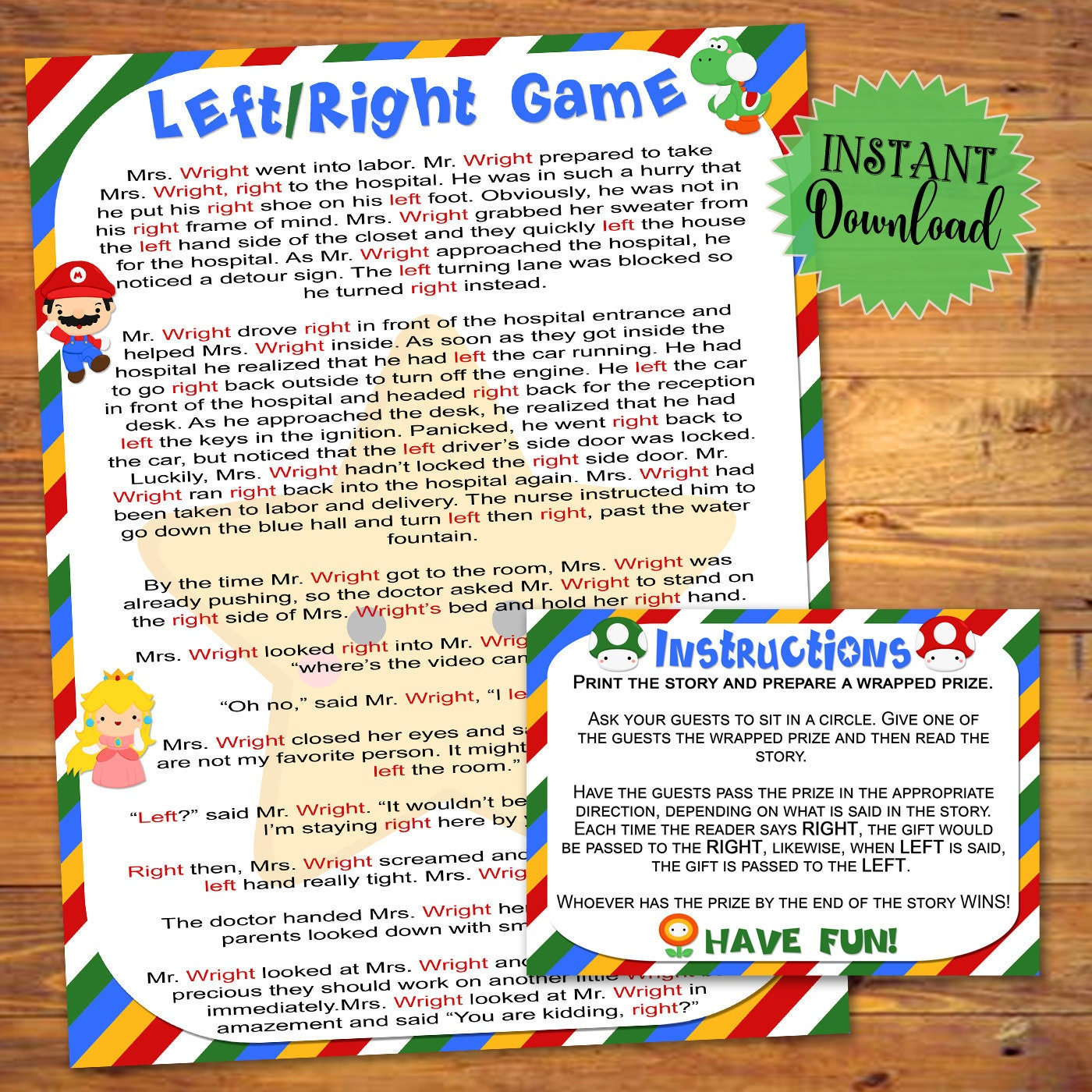 Baby Shower Game Printable Left Right Game Instant Print