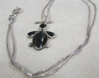 Whimsical Sterling Silver and Jet Necklace