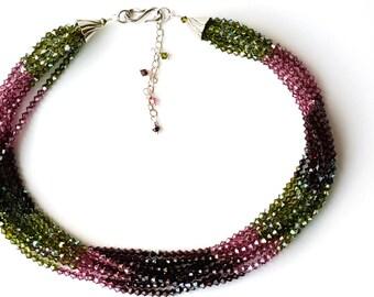 Multi strand Swarovski Necklaces - Tourmaline Necklace - Multi-strand Crystal Necklace - Crystal Multi Strand Necklace - Swarovski Necklace