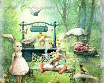 Bunny Garden Digital Collage Greeting Card (Suitable for Framing)