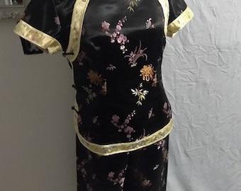 oriental two piece kimono or pajamas set vintage size Medium