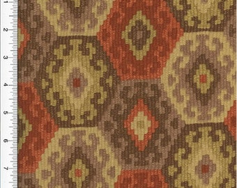 Designer Cotton Red/Brown Honeycomb Print Decorating Fabric, Fabric By The Yard
