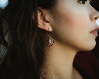 Chocolate Moonstone and Labradorite Oxidized Silver Hoop Earrings