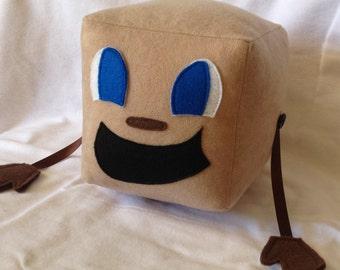 "Tiny Box Tim Plushie! Faux Suede Plush Toy. 5.5"" cube, Pillow. Markiplier Youtuber."