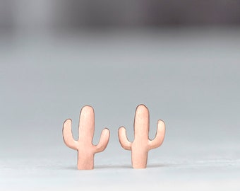 Solid Gold Saguaro Earrings Cactus Studs Dainty solid 14k solid Gold plant lover tropical gift for her plant mom delicate minimal