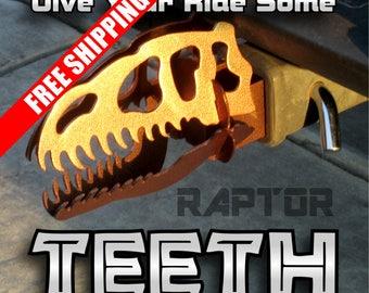 Raptor Dinosaur Skull trailer hitch cover.  custom made metal art. Sure to be a conversation starter. Great Gift Idea.