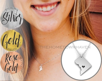 Washington DC Necklace - DC Map necklace, Gold Fill and Rose Gold Fill available