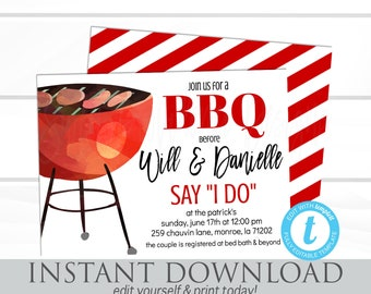 I do BBQ Invitation, Couples Shower barbecue, BBQ Invitation, Rehearsal dinner, EDITABLE invitation template, Instant Download, template