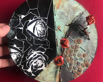 Beauty and Decay mixed media rose painting with metal roses found objects contemporary art