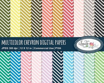 50%OFF Chevron digital papers, rainbow papers, chevron scrapbook papers, patterned paper, chevron pattern, P184