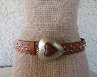 """Moroccan Leather Belt Etched Brass Buckle Hippie Boho Ethnic Flair WovenStudded Grommet  Concho Fits 31 to 38"""" Waist Large XL"""
