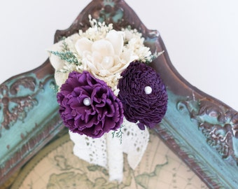 Sola Flower Corsage, Ivory, Purple, Pin Corsage, Wedding Corsage