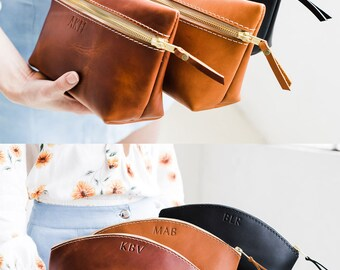 BRIDESMAIDS Gift Leather Makeup Bag 50% OFF SALE  Makeup Bag Toiletry Bag Leather Bag with Monogram  Bridesmaid gift Leather Kit Makeup Bag