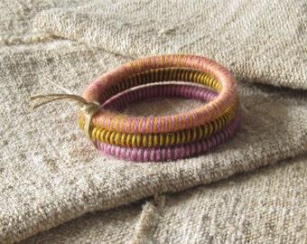 Yarn bangle bracelets, wool bracelet, wrapped wool bangles, organic bracelets, striped bracelet, colorful yarn bracelet, fiber bracelet