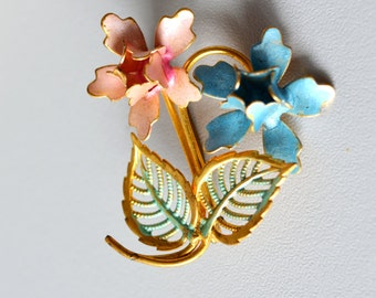 Pastel floral Brooch, Art Nouveau Pin, Bridal Wedding, elegant brooch, Mid Century Brooch, easter gift, pink blue gold,
