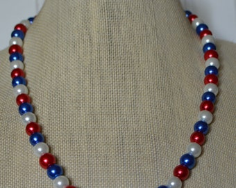 Red, White and Blue Pearl Necklace