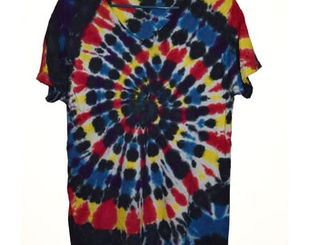 Hand Dyed Spiral in Black, Yellow, Red, Blue and Purple
