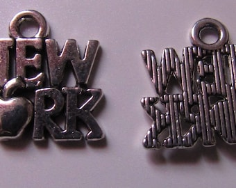 lot of 2 silver charms NEW YORK 14mmx15mm