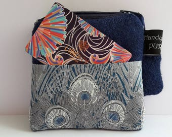 Mother's Day Gift for Mom Harris Tweed Blue Pocket Coin Purse with Liberty of London Hera Print Fabric
