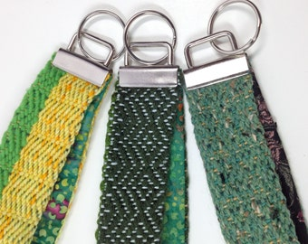 Emerald Green Handwoven Key Fob | Woven Key Chain | Wristlet Fob For Her | Woven Gifts under 30 | Wristlet Strap | Bracelet Keychain