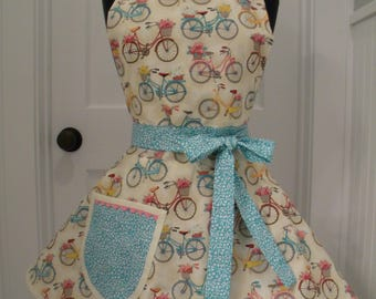 Womens Apron-Bicycles and Baskets-Full Sweetheart Apron